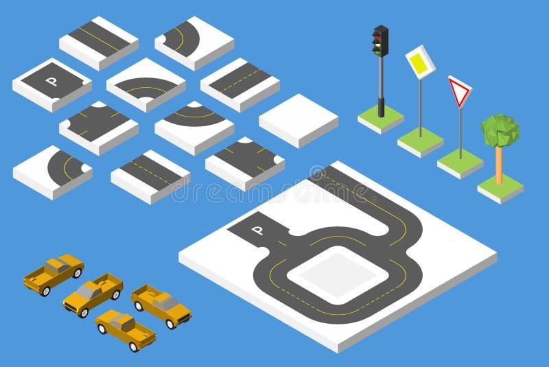 集合等量路和传染媒介汽车,管理共同的公路交通 10 eps例证盾向量 皇族释放例证