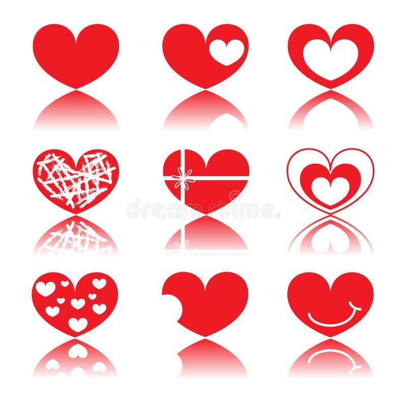 集合红色心脏 免版税库存照片