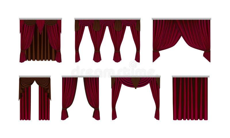 集合美丽,丝绸,天鹅绒帷幕 装饰内部项目,现实帷幕 库存例证