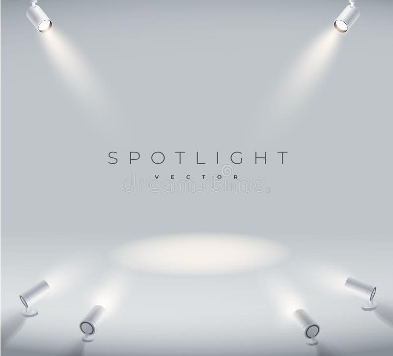 集合聚光现实与明亮的白光光亮的阶段传染媒介集合 有启发性作用形式放映机,演播室的放映机 皇族释放例证