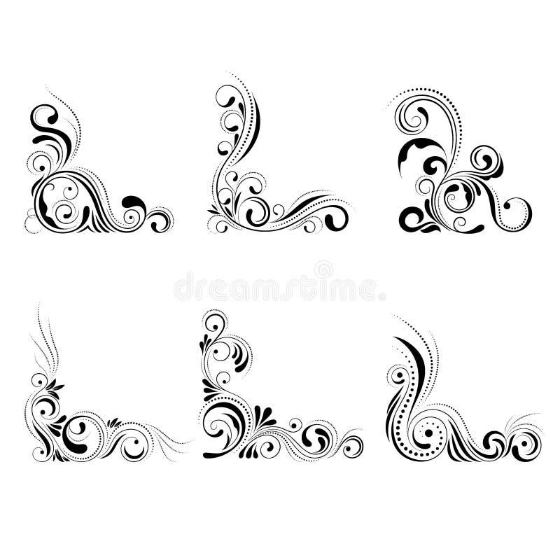 集合花卉壁角设计 在白色背景隔绝的漩涡装饰品-导航例证 装饰边界与 向量例证
