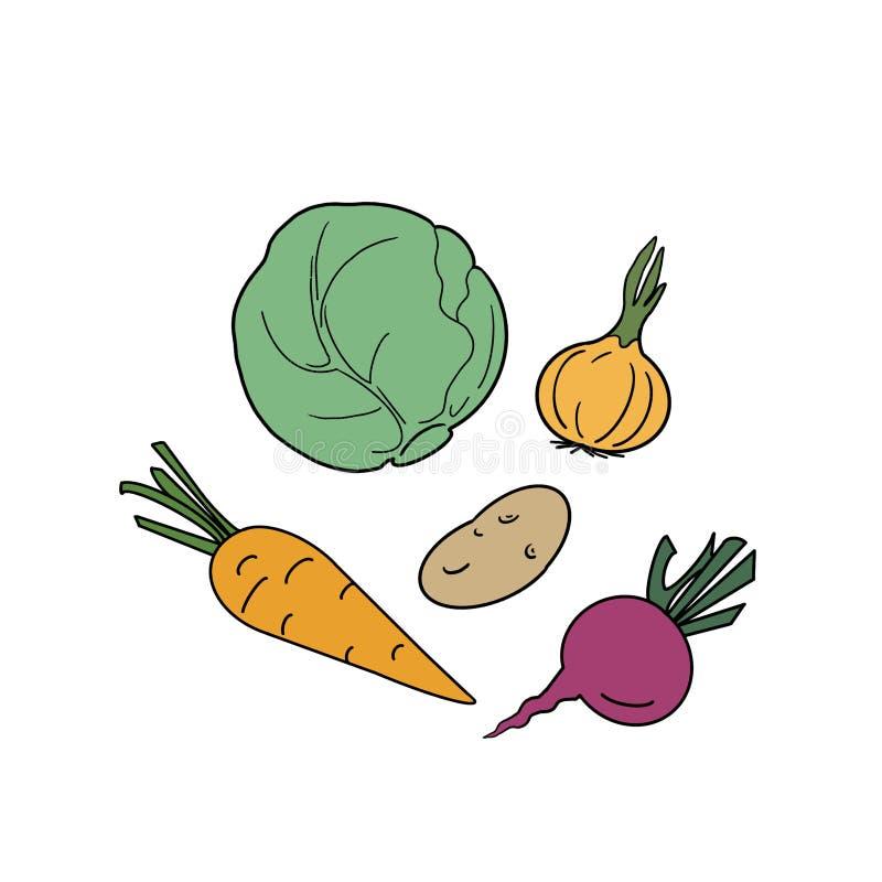 集合菜的手拉的例证在白色背景的 皇族释放例证