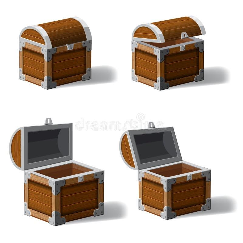 集合被张开的和被关闭的古色古香的宝物箱,设置了象、比赛和UI元素,传染媒介,动画片样式 库存例证