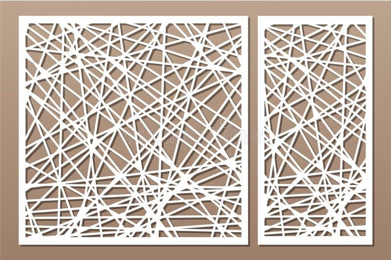 集合装饰盘区激光切口 背景图画木面板的葡萄酒 典雅的现代几何抽象样式 比率1:2, 1:1 也corel凹道例证向量 皇族释放例证