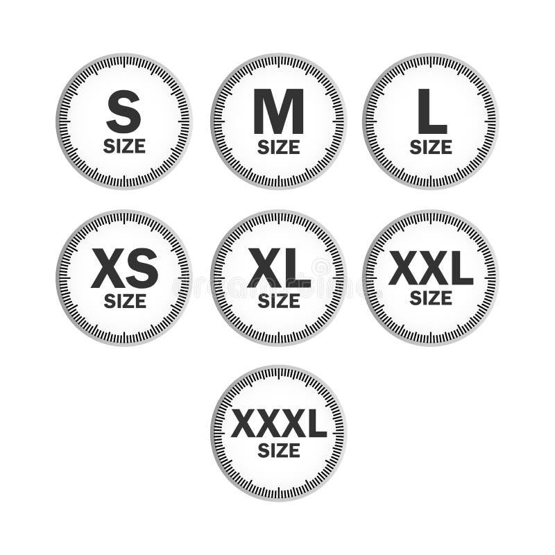 集合象标志估量衣物,逐字从大的测量标准衣物大小到小s xxxl贴纸,传染媒介模板 库存例证