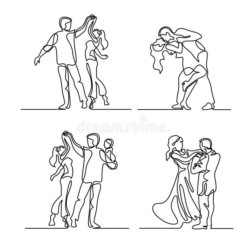 集合连续的愉快的爱恋的夫妇跳舞 向量例证