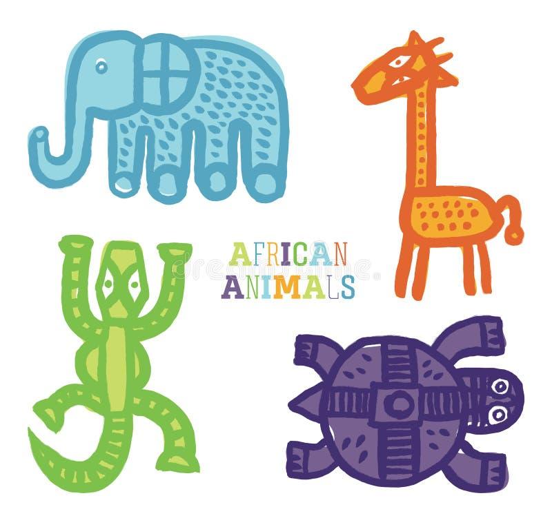 集合逗人喜爱的动画片非洲动物传染媒介油漆刷 库存例证