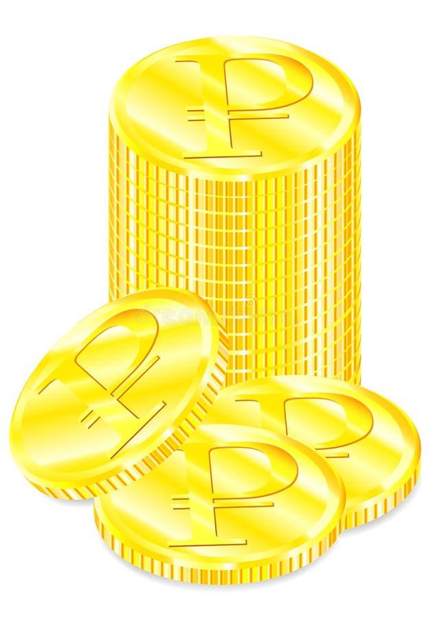 集合金黄硬币传染媒介图画与卢布标志的 向量例证