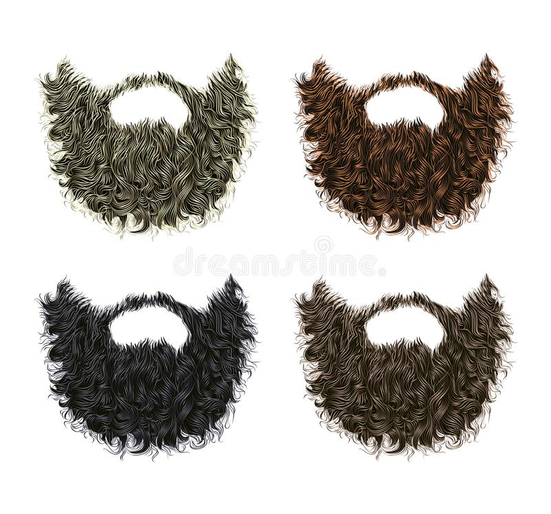 集合长的卷曲胡子和髭不同的颜色 皇族释放例证
