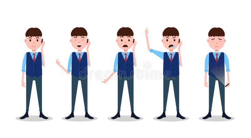 集合青少年的男孩字符不同的姿势和情感电话男性西装模板设计工作和动画的 向量例证