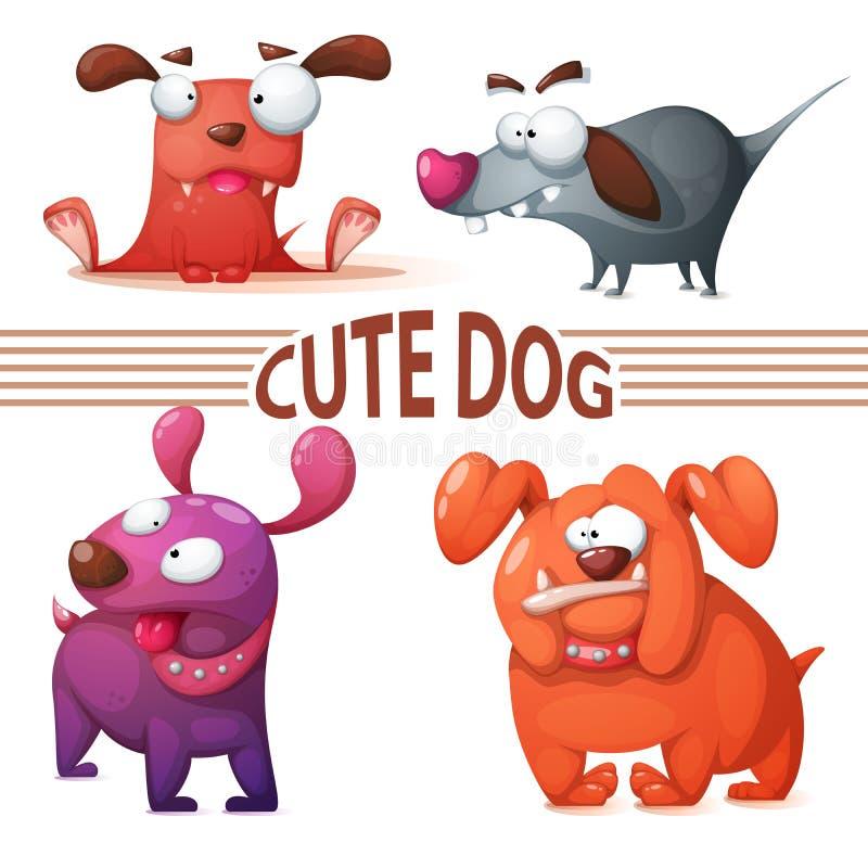 集合颜色狗 逗人喜爱的例证 库存例证