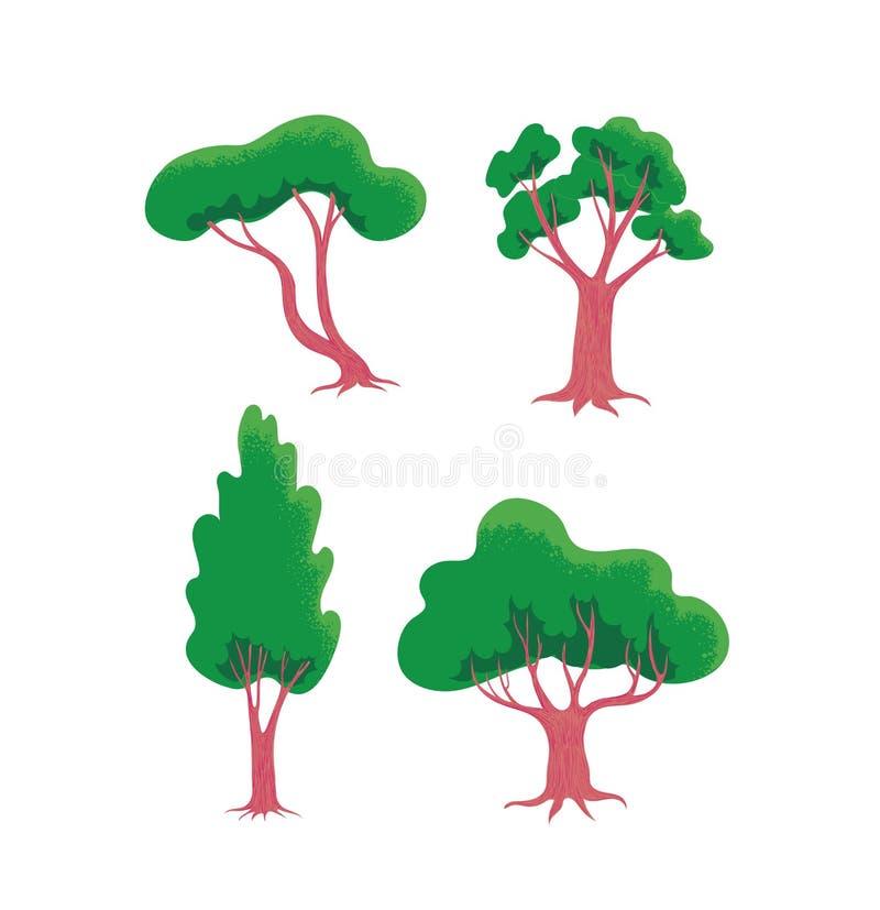 集合风格化结构树 森林和庭院风景 向量例证