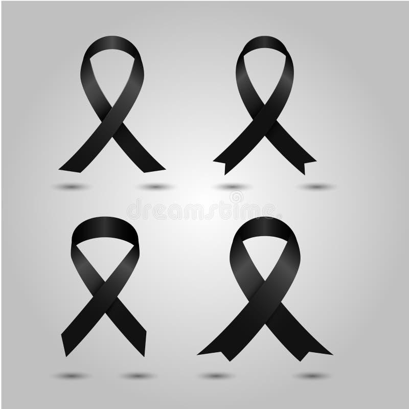 集合黑了悟丝带传染媒介 哀悼和黑瘤标志 皇族释放例证