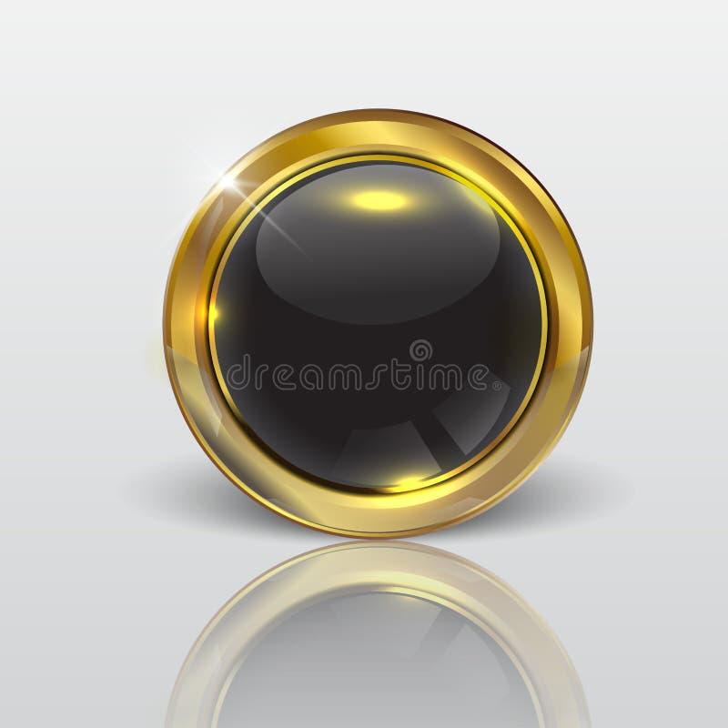 集合黑白的按钮在周围和方形的按钮 库存图片