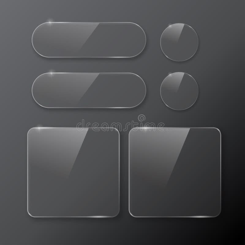 集合黑白的按钮在周围和方形的按钮 免版税库存图片