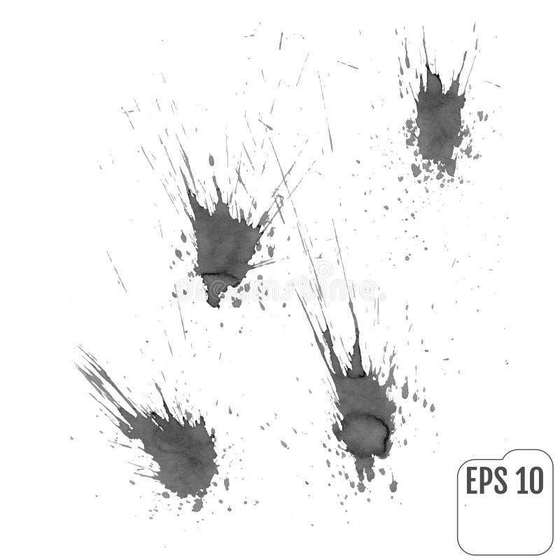 集合:在灰色口气的墨水污点 库存例证
