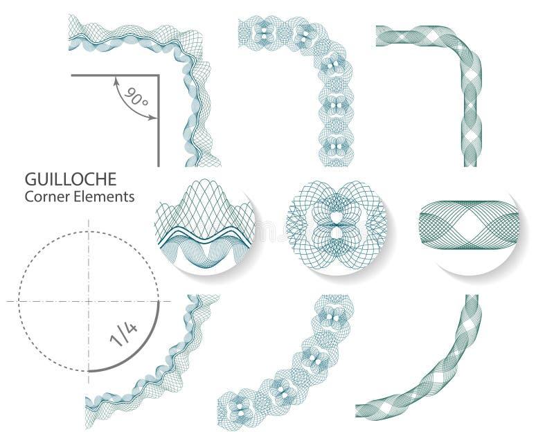 集合:证明或文凭的无缝的扭索状装饰角落边界元素, 也corel凹道例证向量 皇族释放例证