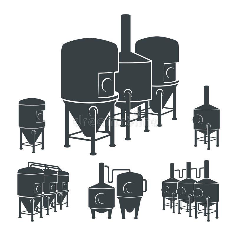 集合-啤酒啤酒厂元素,象,商标 向量 库存例证