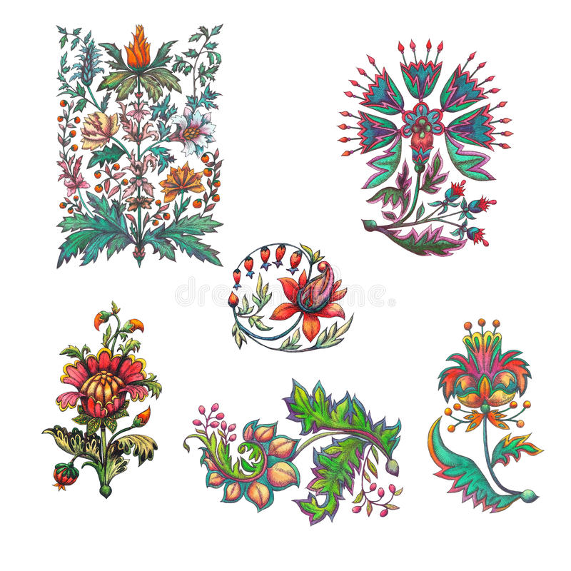 集合 在巴洛克式的样式的装饰花 皇族释放例证