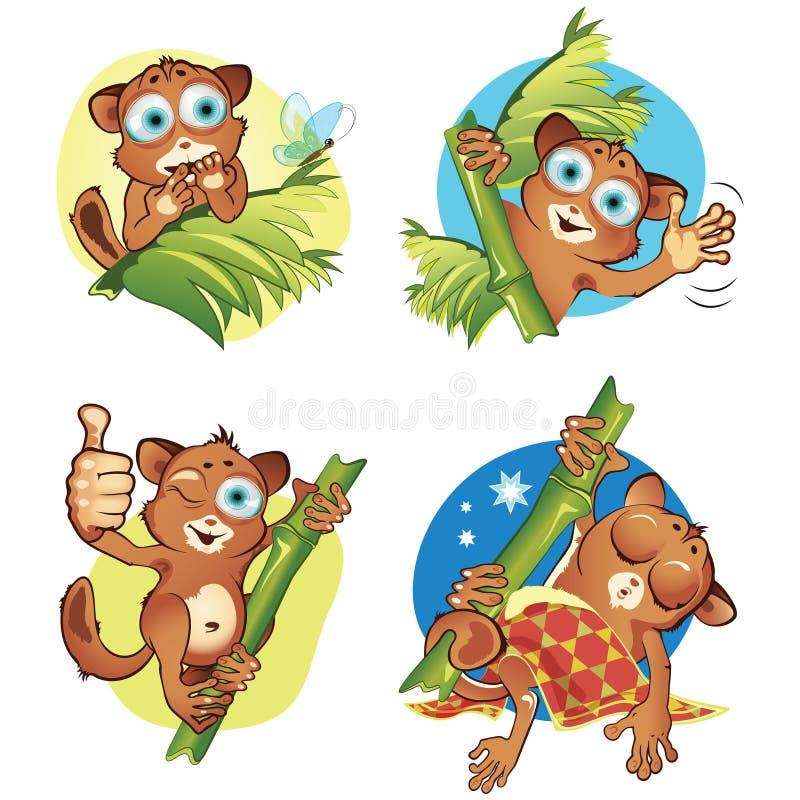 集合2猴子tarsiers 皇族释放例证
