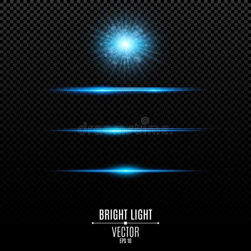 集合 抽象在透明背景隔绝的强光和闪光 明亮的光芒四射的星 蓝色软的霓虹线和光 向量例证