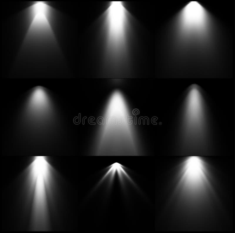 集合黑白光源 向量 皇族释放例证
