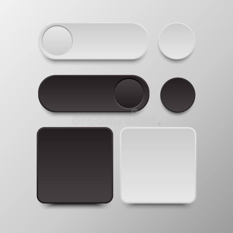 集合黑白的按钮在周围和方形的按钮 图库摄影
