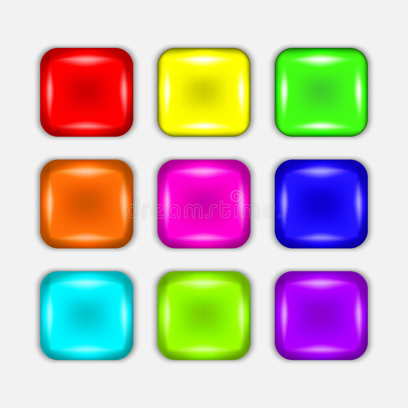 集合黑白的按钮在周围和方形的按钮 免版税库存照片