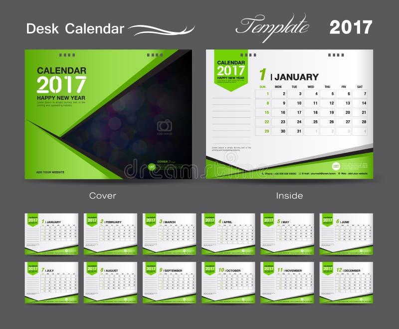 集合绿色桌面日历2017年模板设计,盖子桌面日历 库存例证