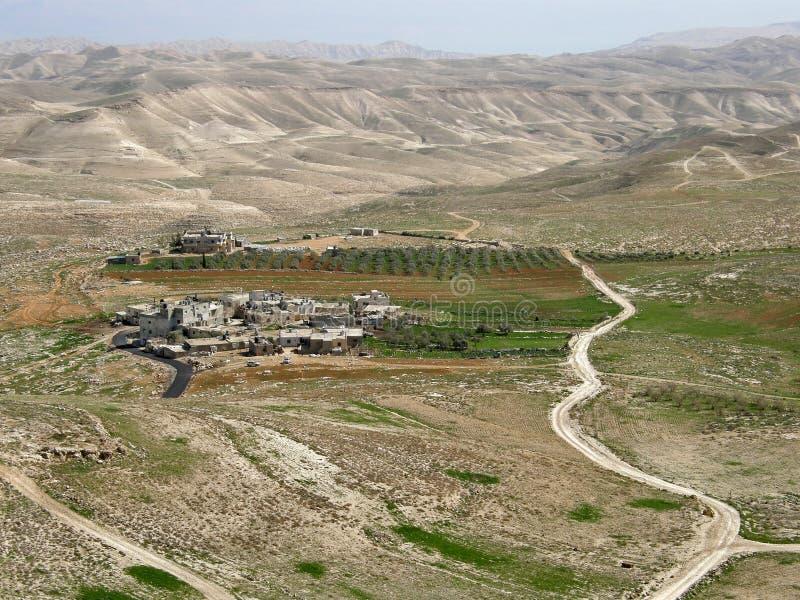 集居区附近的Herodium â Herod的宫殿堡垒, Judean沙漠,以色列国王 免版税库存照片