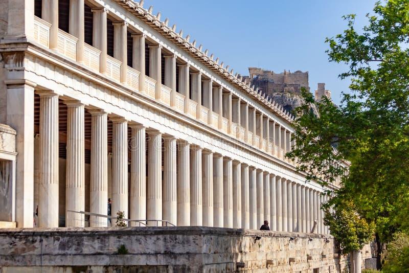 集市在古老雅典:Attalos Stoa  库存照片