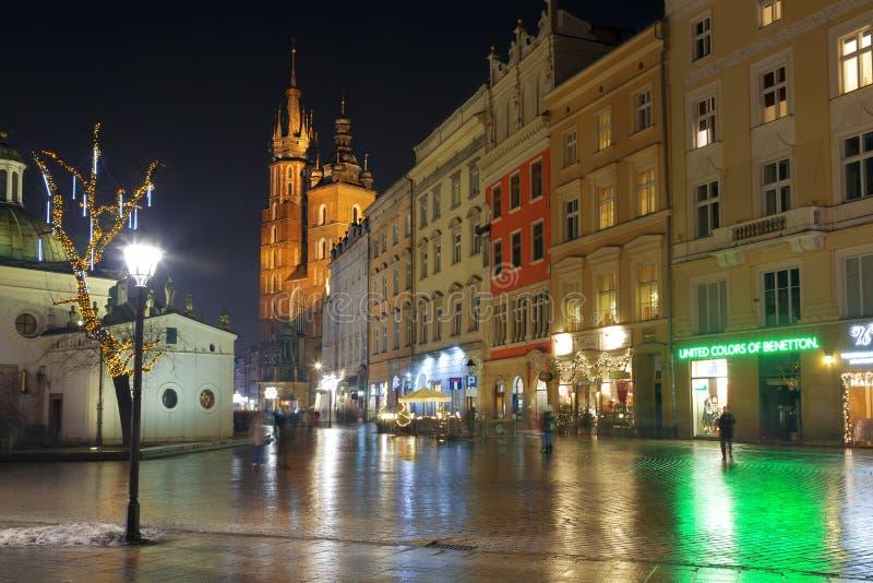 集市广场在克拉科夫在晚上 库存照片