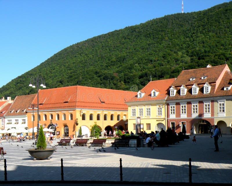 集市广场在布拉索夫, Transilvania 免版税图库摄影