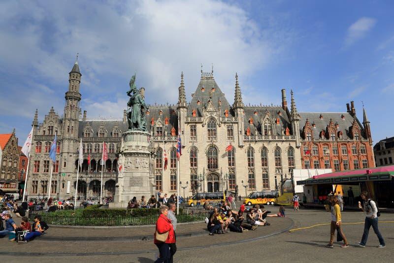 集市广场在布鲁日比利时 库存照片