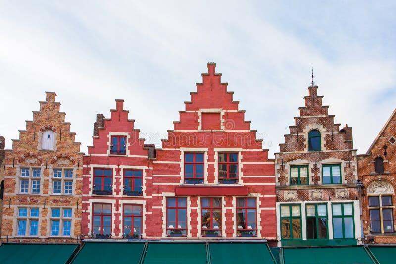 集市广场在布鲁日,比利时 库存照片