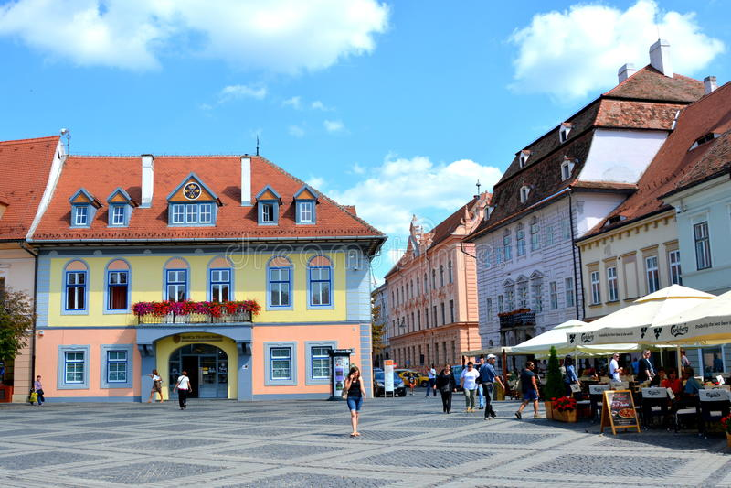 集市广场在锡比乌,文化的欧洲首都年2007年 库存照片