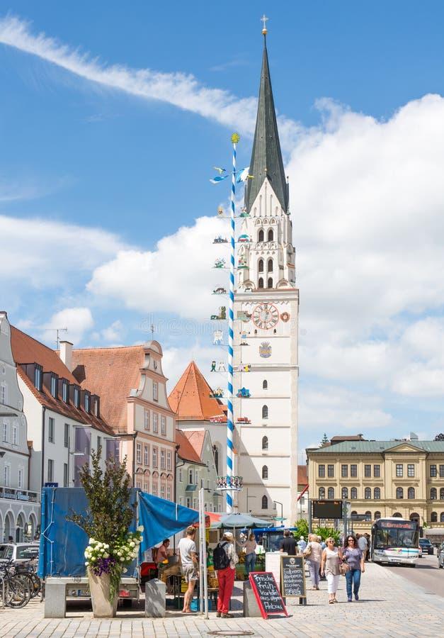 集市广场在Pfaffenhofen 库存照片
