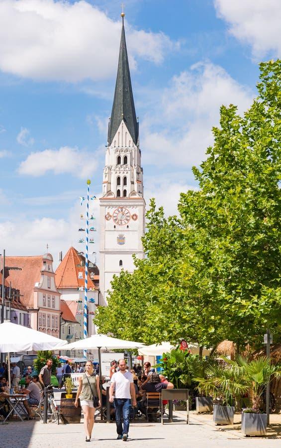 集市广场在Pfaffenhofen 图库摄影