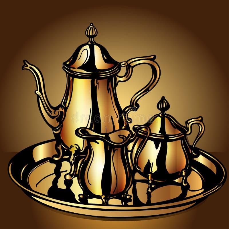 集欢乐与茶壶和酪农业者 库存例证