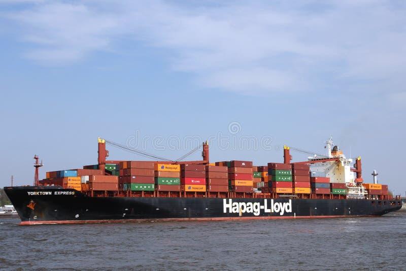 集装箱船赫伯罗特约克镇表达 库存照片