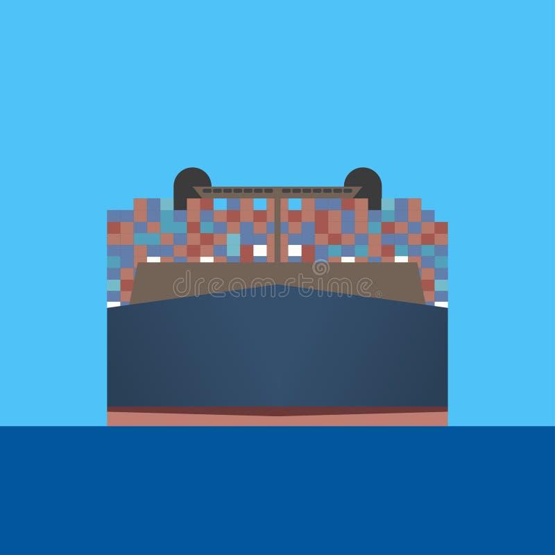 集装箱船通过蓝色海驾驶 皇族释放例证