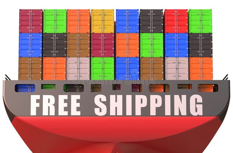 集装箱船,自由运输概念 库存例证