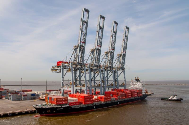 集装箱船,货物终端 免版税图库摄影