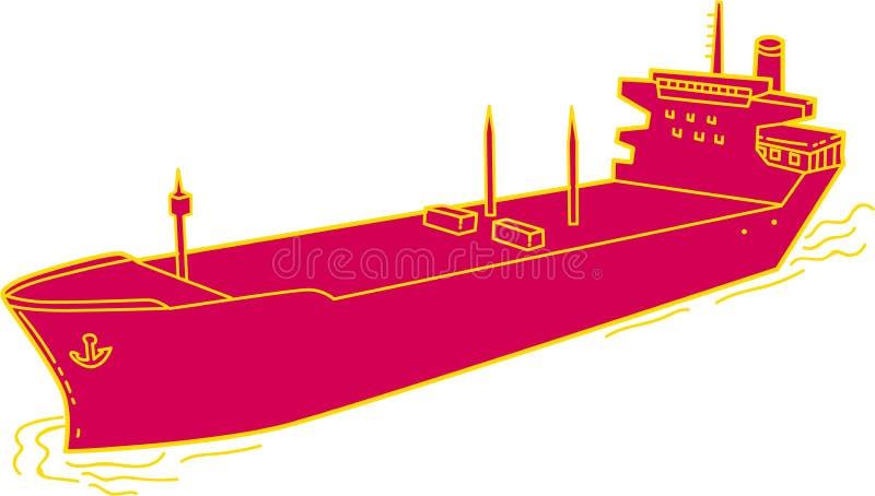 集装箱船货船单音线 向量例证