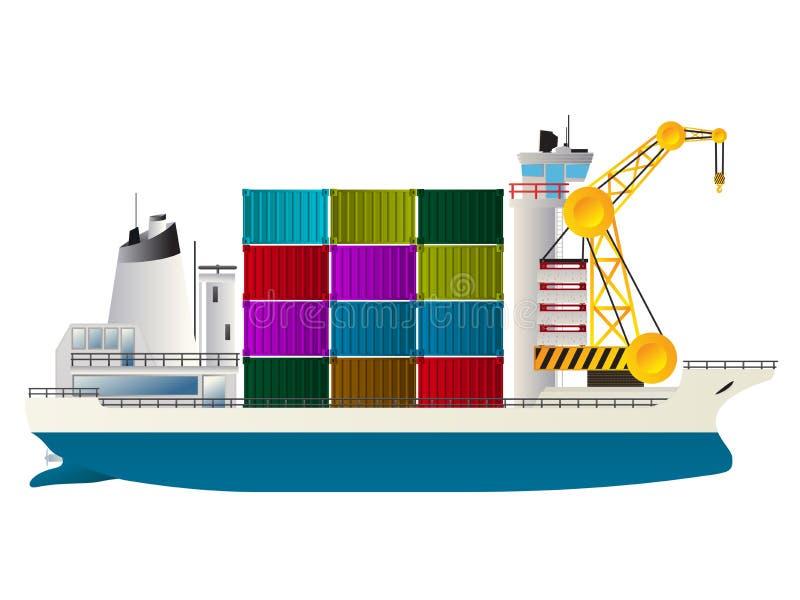 集装箱船 向量例证