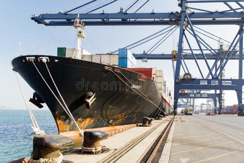 集装箱船Basht货物操作 免版税图库摄影