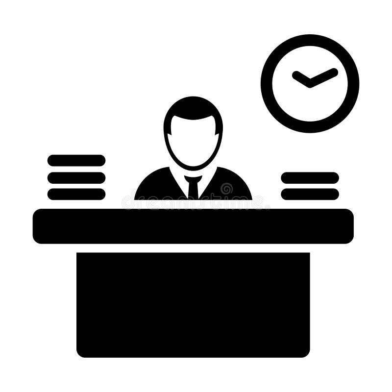 雇主象传染媒介男性收养与桌的具体化标志在平的颜色纵的沟纹图表的事务的 向量例证