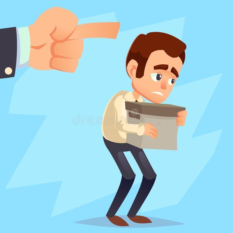 雇员从他的工作得到射击 今后指向哀伤的商人拿着箱子,手,您是被射击的文本 平的样式illustr 向量例证