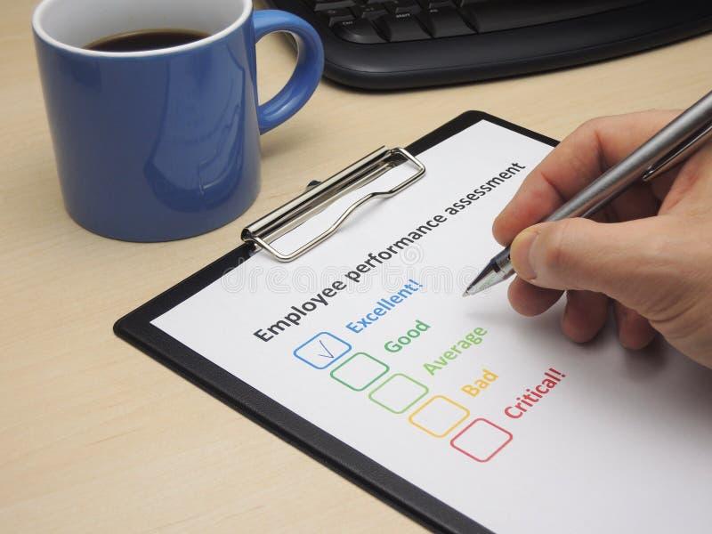 雇员优秀的评估性能- 免版税库存图片