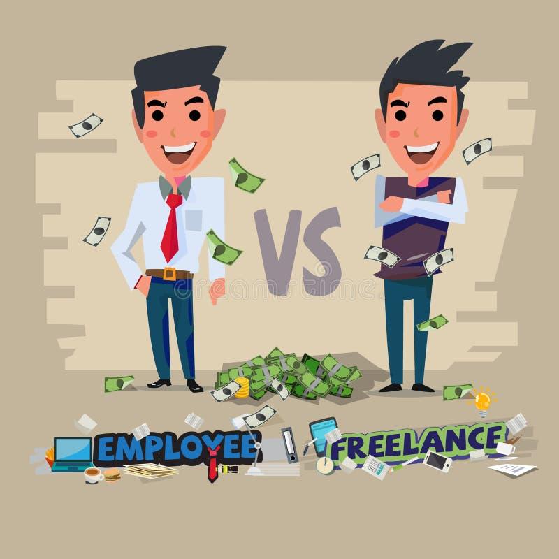 雇员和做自由职业者 字符设计- 向量例证